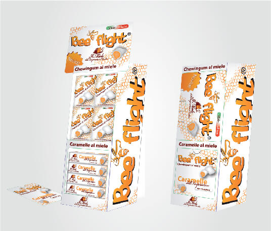 BeeFlight packaging dispenser da banco per caramelle al miele e gomme al miele